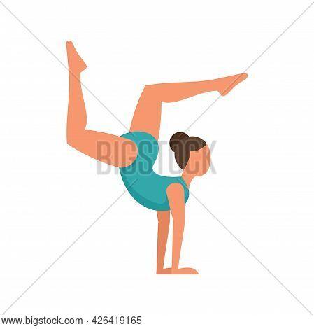Circus Gymnast Girl Icon. Flat Illustration Of Circus Gymnast Girl Vector Icon Isolated On White Bac
