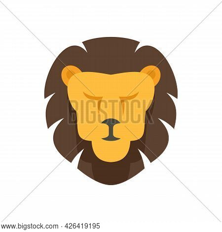 Lion Face Icon. Flat Illustration Of Lion Face Vector Icon Isolated On White Background