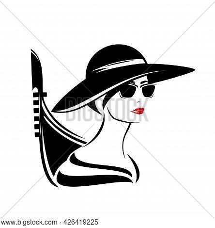 Elegant Woman With Sunglasses Wearing Wide Brimmed Hat With Gondola Boat Outline - Stylish Italian T
