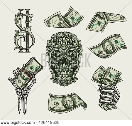 Money Elements Colorful Vintage Concept With Dollar Symbol And Notes Skeleton Hands Holding American