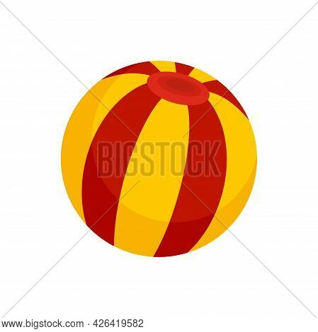 Circus Ball Icon. Flat Illustration Of Circus Ball Vector Icon Isolated On White Background
