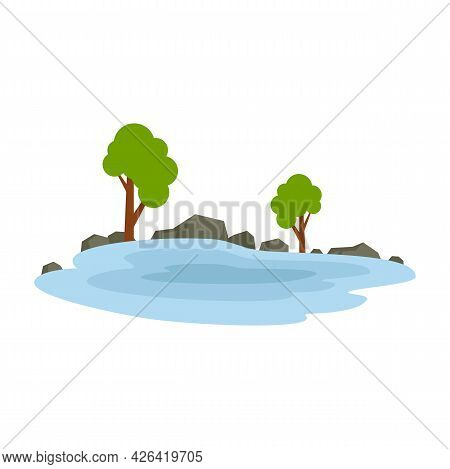 Forest Lake Icon. Flat Illustration Of Forest Lake Vector Icon Isolated On White Background