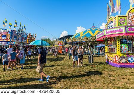 West Windsor, New Jersey - July 4: People Enjoy A Sunny Day At The Mercer County Fair On July 4 2021