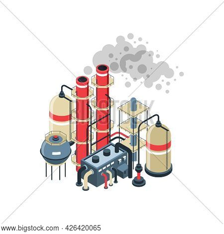 Environmental Pollution Icon With 3d Oil Refinery On White Background Isometric Vector Illustration