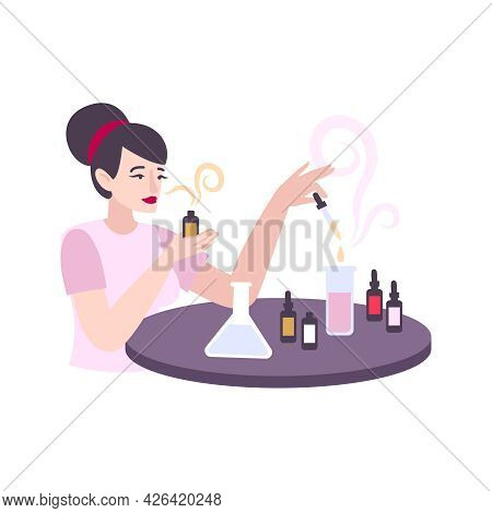 Female Perfumer With Tubes And Flasks Creating Perfume Flat Vector Illustration