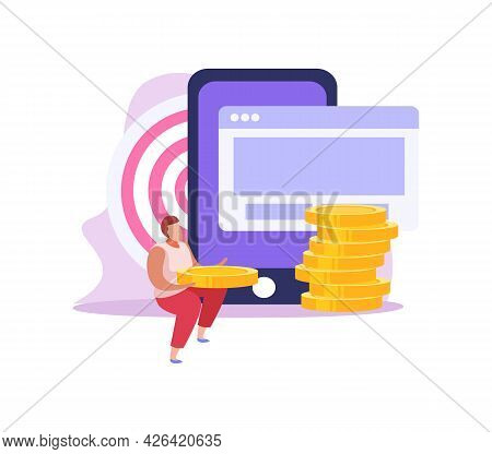 Crowdfunding Flat Icon With Character Collecting Money Online Vector Illustration