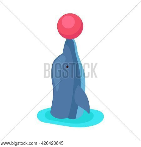 Isometric Icon With Dolphin Performing With Ball At Show In Dolphinarium 3d Vector Illustration