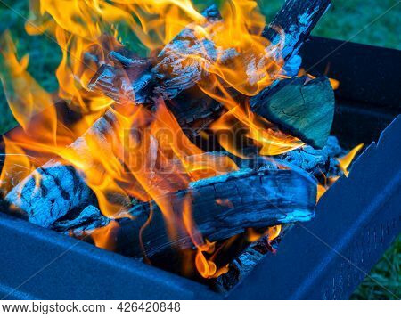 Close-up Of Burning Logs Of Firewood In The Grill. Background Of A Burning Tree
