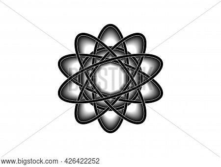 Pictograph Of Atom. Black Line Logo Template In Celtic Knot Style On White Background. Tribal Symbol