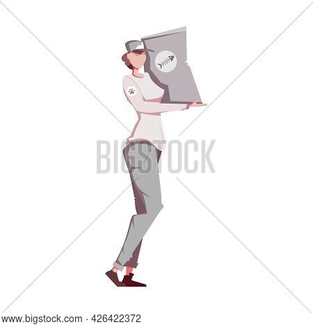 Female Animal Shelter Worker Carrying Big Package Of Dry Food Flat Vector Illustration