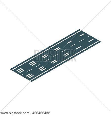 Airplane Takeoff Runway Isometric Icon Vector Illustration
