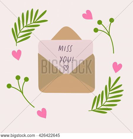 Opened Golden Rose Mail Envelope With Miss You Quote Letter Romantic Vector Illustration With Hearth