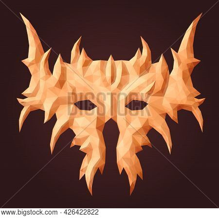 Beautiful Vector Low Poly Illustration With Colorful Abstract Demon Mask Isolated On The Purple Back