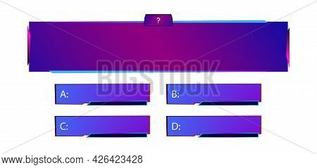 Vector Template Question And Answers Neon Style For Quiz Game, Exam, Tv Show, School, Examination Te
