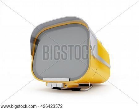 Stylish Orange Retro Tv Mobile Sixties. Tv On A White Background. 3d Illustration.