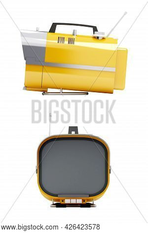 Stylish Orange Retro Tv Mobile Sixties. Tv On A White Background, Side And Front View. 3d Illustrati