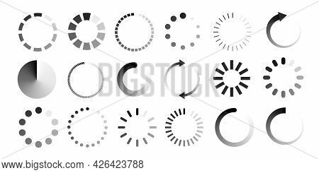Loading Vector Icon Set Isolated On White Background. Load Symbol, Download Sign, Progress Loading W