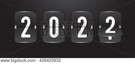 2022 Coutdown Calendar Flip Board With Scoreboard. Time Remaining Realistic Style Isolated On Black