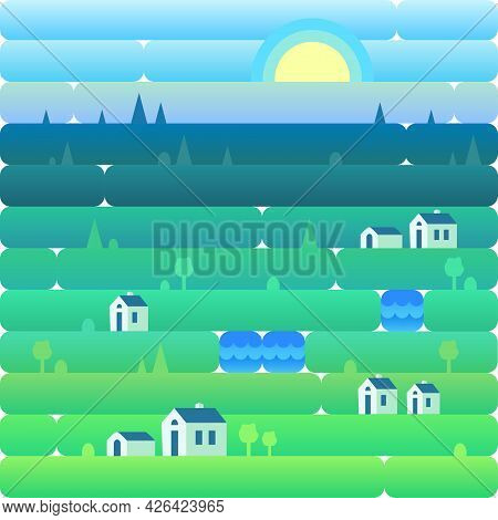 Landscape Of Countryside And Nature. Houses, Green Grass, Blue Sky And Lakes. Vector Illustration In