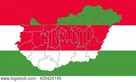 Hungary National Flag With Administrative Regions Map Border Inside, Detailed Multicolored Vector Il
