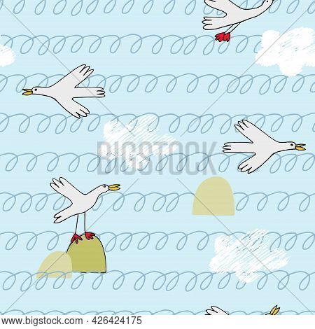 Seamless Pattern With Sea Birds, Waves And Clouds In Cartoon Style