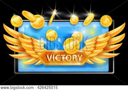 Game Victory Vector Concept, Golden Pair Of Wings, Flying Dollar Coins, Smartphone Screen On Black.