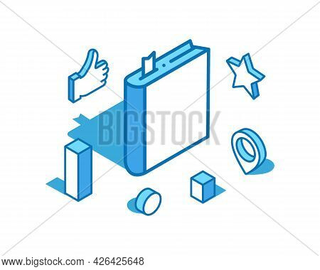 Book Blue Line Isometric Illustration. Literature, Diary 3d Banner Template.