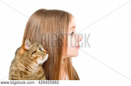 Portrait Of A Cute Little Girl And Cat Scottish Straight, Closeup, Side View, Isolated On White Back