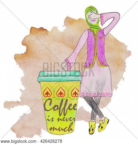 A Cup Of Green Coffee And A Muslim Woman In A Hijab In Pink With A Tatar, Oriental Pattern, In A Ves
