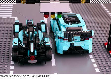 Tambov, Russian Federation - February 19, 2020 Lego Jaguar I-pace Etrophy And Formula E Panasonic Ja