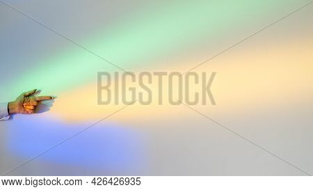 Neon Light Background. Pointing Gesture. Enlightenment Aura. Right Direction. Woman Hand With Index