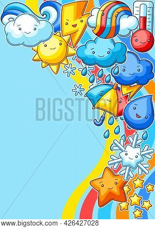 Background With Cute Kawaii Weather Items. Funny Seasonal Child Illustration.