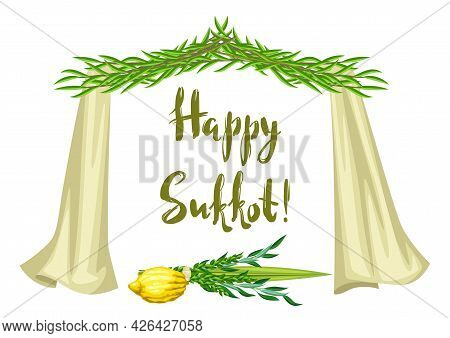 Happy Sukkot Greeting Card. Holiday Background With Jewish Festival Traditional Symbols.