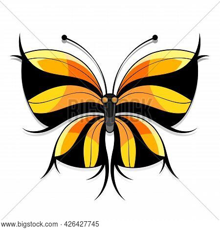Beautiful Watercolor Abstract Translucent Butterfly On The White Background. Wings Look Like Wet Wat