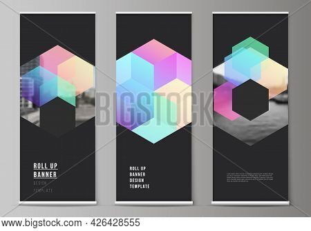 Vector Layout Of Roll Up Mockup Design Templates With Abstract Shapes And Colors For Vertical Flyers