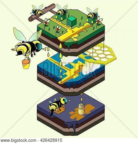 Honey Bees Isometric Art Cartoon. 3d Bee