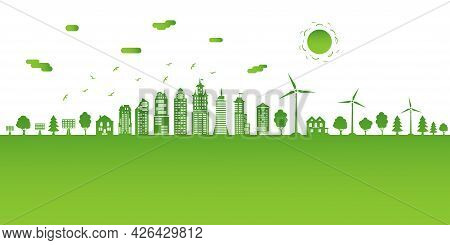 Ecological City And Environment Conservation. Concept Green City With Renewable Energy Sources. Gree