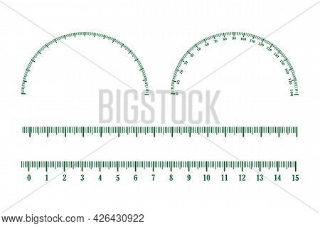 Set Of Measuring Scale, Markup For Rulers And Protractor. Inch Green Lines. Ruler Icon Symbol Isolat