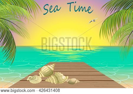 Sunrise At The Seaside In Illustration.color Vector Illustration Of Sunrise On The Background Of The