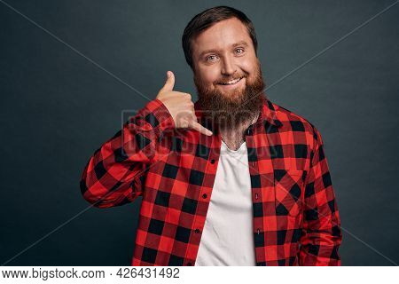Cheeky Romantic Sexy Bearded Man In Red Checkered Shirt Asking Give Him Call, Smiling Sly And Sassy,