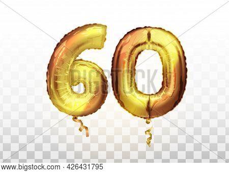 Vector Golden Foil Number 60 Sixty Metallic Balloon. Party Decoration Golden Balloons. Anniversary S