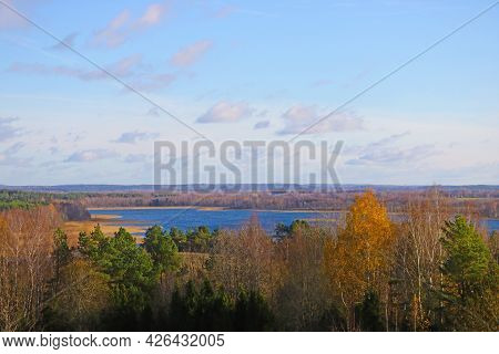 View From The Height Of The Lake And Forest In Autumn