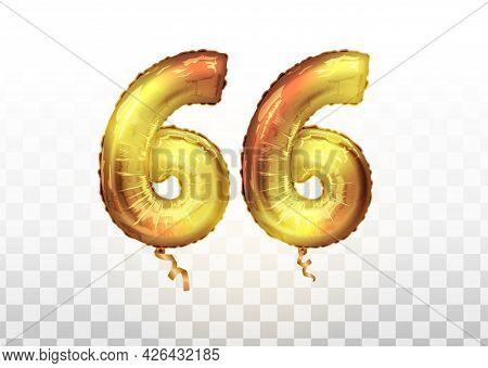 Vector Golden Number 66 Sixty Six Metallic Balloon. Party Decoration Golden Balloons. Anniversary Si
