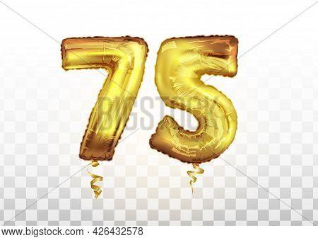 Vector Golden Number 75 Seventy Five Metallic Balloon. Party Decoration Golden Balloons. Anniversary