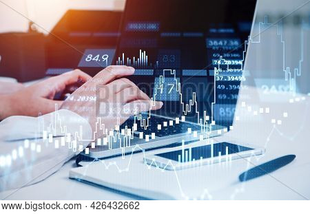 Businessman Trader Hands Working With Laptop. Stock Market Changes, Business Candlesticks Graph Char