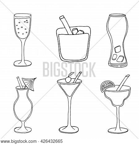 Set With Hand Drawn Cocktails Glasses. Isolated On White Background. Cocktails Vector Doodle Sketch.