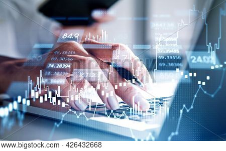 Businesswoman Trader Hands Working With Laptop. Stock Market Changes, Business Candlesticks Graph Ch