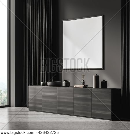 Corner Of The Dark Grey Waiting Room Interior With Square Wide Banner On The Wall. Curtains And Wood