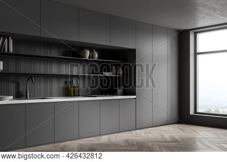 Corner Of The Kitchen Room Interior With Panoramic Windows. Square Niche With Dark Lining Behind Ope