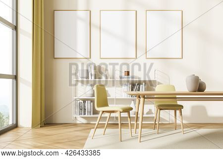 Thee Mock Up Posters On The Light Yellow Wall In The Living Room Interior Of Apartment Studio With T